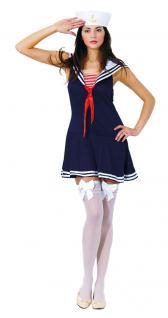 Kostüm Matrosin Matrosen Damen-kostüm blau-weiß-rot Matrosen-Mütze Overknees KK