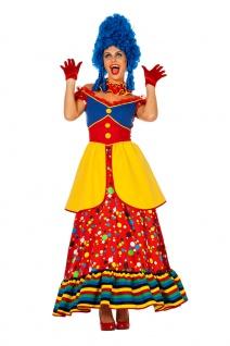 Buntes Clown Kostüm Damen Zirkusclown-Kleid rot bunt Punkte Fasching Karneval KK