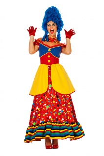 Clown Kostüm Damen langes Kleid bunt Punkte Zirkus Fasching Karneval KK