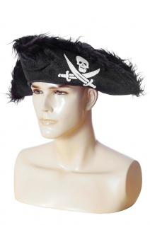 Piraten-Hut Damen schwarz Aufdruck Dreispitz Gothic Piratin Fasching Karneval KK