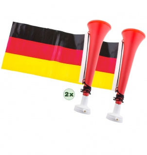 Tröte Fan Fußball-Tröte 2 Stück mit Deutschland Flagge Frauen WM 2019 KK
