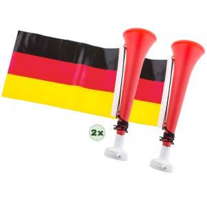 Tröte Fan Fußball-Tröte 2 Stück mit Deutschland Flagge Herren EM WM 2021 KK