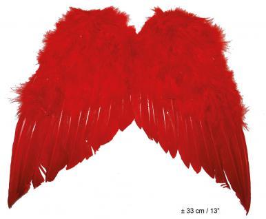 Karneval Klamotten Kostüm Federflügel rot ca. 30 x 40cm Zubehör Teufel Karneval
