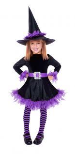 Karneval Klamotten Hexenkostüm flieder schwarz Karneval Halloween Mädchenkostüm