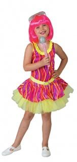 Disco Kostüm Mädchen Kleid neon Rockstar Popstar Sängerin Karneval Fasching KK