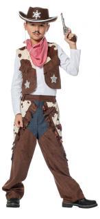 Cowboy Kostüm Kinder Weste Chaps Western Sheriff Karneval Fasching Jungenkostüm