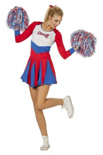 Cheerleader Kostüm Damen Kleid rot weiß blau Damenkostüm Karneval Fasching KK