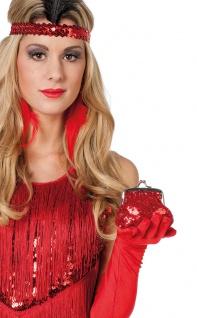 Pailletten Tasche Geldbeutel rot Charleston glitzer 20er Jahre Fasching Karneval