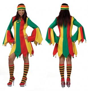 Narre Clown Kostüm DamenClownskleid rot grün gelb Zirkus Damenkostüm Karneval KK
