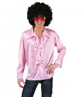 Rüschenhemd Disco-Hemd Schlagerhemd Show rosa Herrenhemd Herren-kostüm KK