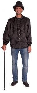 Rüschenhemd Disco-Hemd Schlagerhemd schwarz Herrenhemd Herren-kostüm KK
