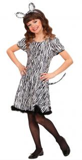 Zebra Kostüm Mädchen Zebra Kleid Zebra-Ohren Schwanz Tier-Kostüm Mädchen-Kostüm