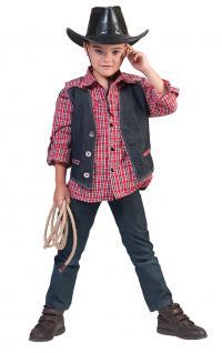 Kostüm Cowboy Kinder Westernkostüm Cowboyhemd Western Hemd rot-weiß Karneval KK