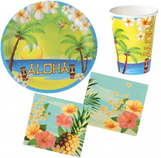 Party Set Hawaii Sommer Aloha 28 Teile Teller, Becher, Servietten, Partygeschirr