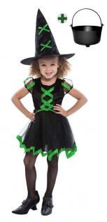 süßes Hexenkostüm Kinder Mädchen Hexenkleid schwarz grün Hexenhut Hexenkessel