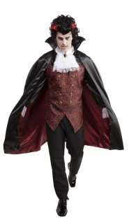 Vampir Kostüm Herren Dracula Umhang Oberteil Perücke Halloween Komplett-Kostüm K