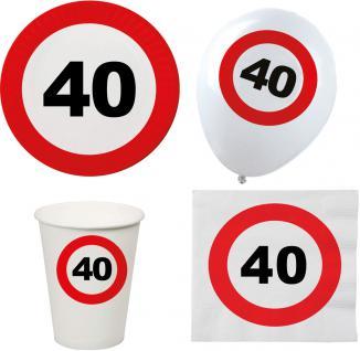 Party Set XL 44 Teile Geburtstag 40 Jahre Verkehrsschild