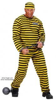Sträflingskostüm Herren Sträfling Kostüm gelb schwarz mit Mütze Fasching KK