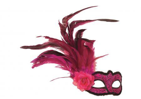 Karneval Klamotten Kostüm Augenmaske Venezianisch pink Federn Venedig Karneval