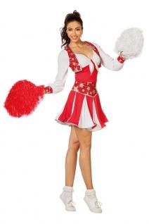 Cheerleader Kostüm Damen USA sexy Cheerleading Amerika rot-weiß Karneval KK