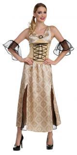 Burgfräulein Kostüm Damen Mittelalter Prinzessin beige gold Fasching Karneval KK