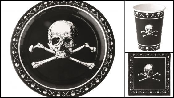 Set Kindergeburtstag Pirat 36 Teile schwarz mit Totenköpfen