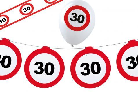 Geburtstag-s Party Set Dekoset Dekoration 30 Jahre Girlanden Ballons Absperrband
