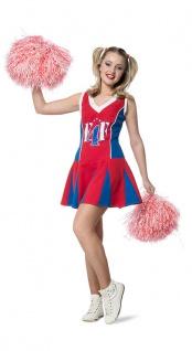 Cheerleader Kostüm Damen rot blau weiß Damen-Kostüm Cheerleader-Kleid Karneval K