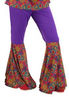 Flower Power Hose Damen Hippie-Schlaghose 60er 70er Jahre hippiekostüm Damen KK