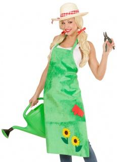Gärtnerin Kostüm Schürze grün Sonnenblume Fasching Karneval Damenkostüm KK
