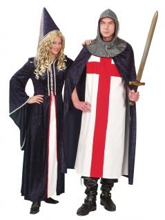 Burgfräulein Kostüm Damen Mittelalter Kleid Hofdame mit Spitzhut Fasching KK