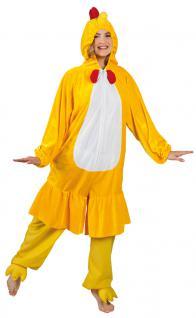 Huhn Kostüm Damen Plüsch Hünchen Overall Erwachsene Tier Damenkostüm Karneval KK