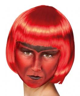 Teufelin Perücke Damen rot Halloween Teufel Kurzhaarperücke KK