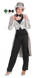 Frack Pailletten Damen Kostüm silber mit Fliege Damenfrack Fasching Karneval KK