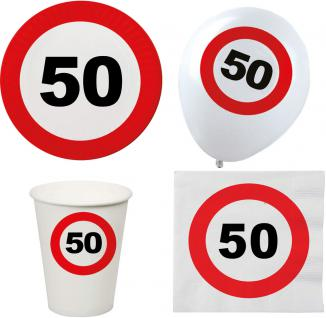 Party Set XL 44 Teile Geburtstag 50 Jahre Verkehrsschild