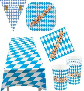 Oktober-Fest Deko Party Set Bayern Partygeschirr Tischdecke Wimpelkette 26 Tlg K