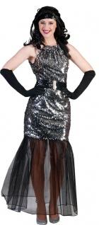 Disco Kostüm Damen Pailletten-Kleid silber mit Tüll KK