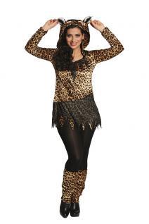 Leoparden Damen Kostüm Leoparden-Kleid Karneval Leopard Damen-Kostüm KK