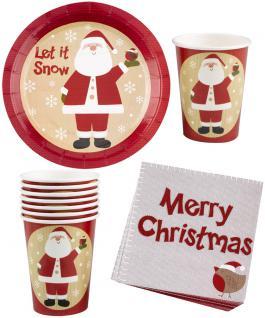Party Set Weihnachtsservietten, Becher, Teller Luxus Weihnachtsmann 32 Teile KK