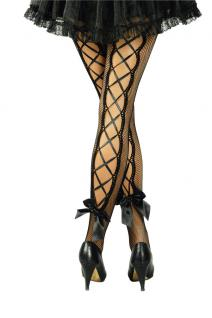 Netzstrumpfhose schwarz Damen mit Schnürung und Schleife Halloween Karneval KK