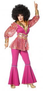 Disco Kostüm Damen 70er 80er Jahre Damenkostüm Discofever pink gold Karneval KK