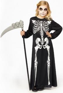 Skelett Kostüm Kinder Mädchen Horror langes Zombie Skelettkleid Halloweenkostüm