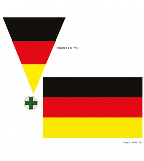 Deutschland Fahne 90 x 150 cm. Girlande 5 m 10 Flaggen Fan-Artikel Fußball KK