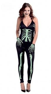 Skelett Kostüm Damen Horror Jumpsuit Overall Halloween Damenkostüm Fasching KK