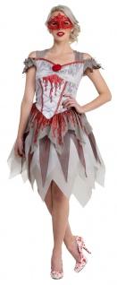 Geisterbraut Kostüm Damen Blutiges Zombie Halloween-Kostüm Braut Horror KK