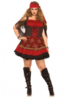 Zigeunerin Kostüm Damen Plus Size Gypsy Marktfrau Damenkostüm Karneval Fasching