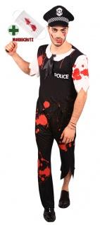 Horror Kostüm Herren Zombie Polizist Blut mit Blutige Mundschutz Mund Nasen KK