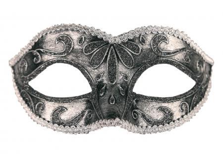 Karneval Klamotten Kostüm Augenmaske Venezianisch silber Venedig Karneval