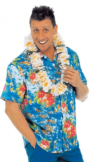 Hawaii Kostüm Herren Hawaiihemd blau Aloha-Shirt Blumen Fasching Sommerparty KK