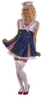 Kostüm Matrosin Matrosen Damen-kostüm blau-weiß-rot Karneval Matrosen-Mütze KK